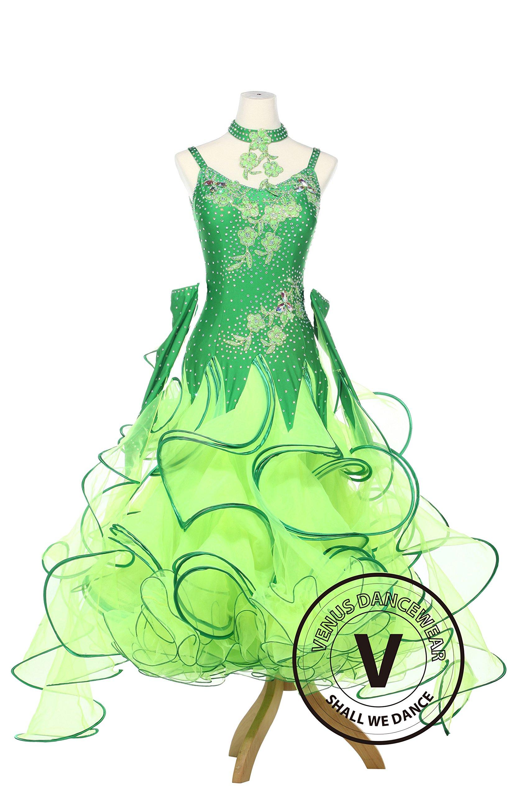 Lotus Leaves Ballroom Dance Smooth Standard Waltz Competition Women Dress