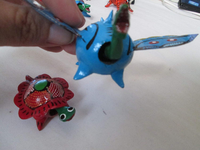lot 2 pair turtle and dragon animal bobble head loose neck figurine seed pod figure hand painted handmade toy