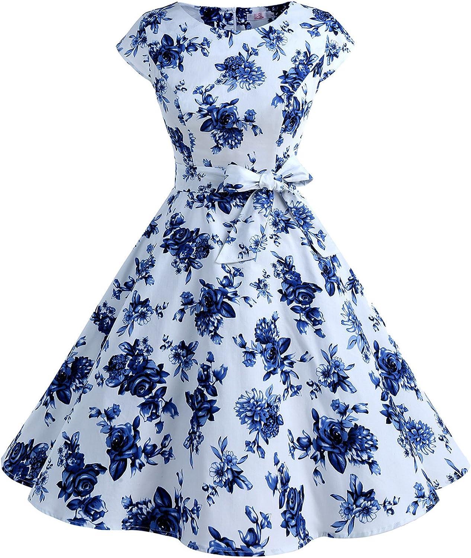 TALLA XXL. Dressystar Vestidos Coctel Corto Vintage 50s 60s Manga Corta Rockabilly Elegante Mujer Blanco Azul XXL