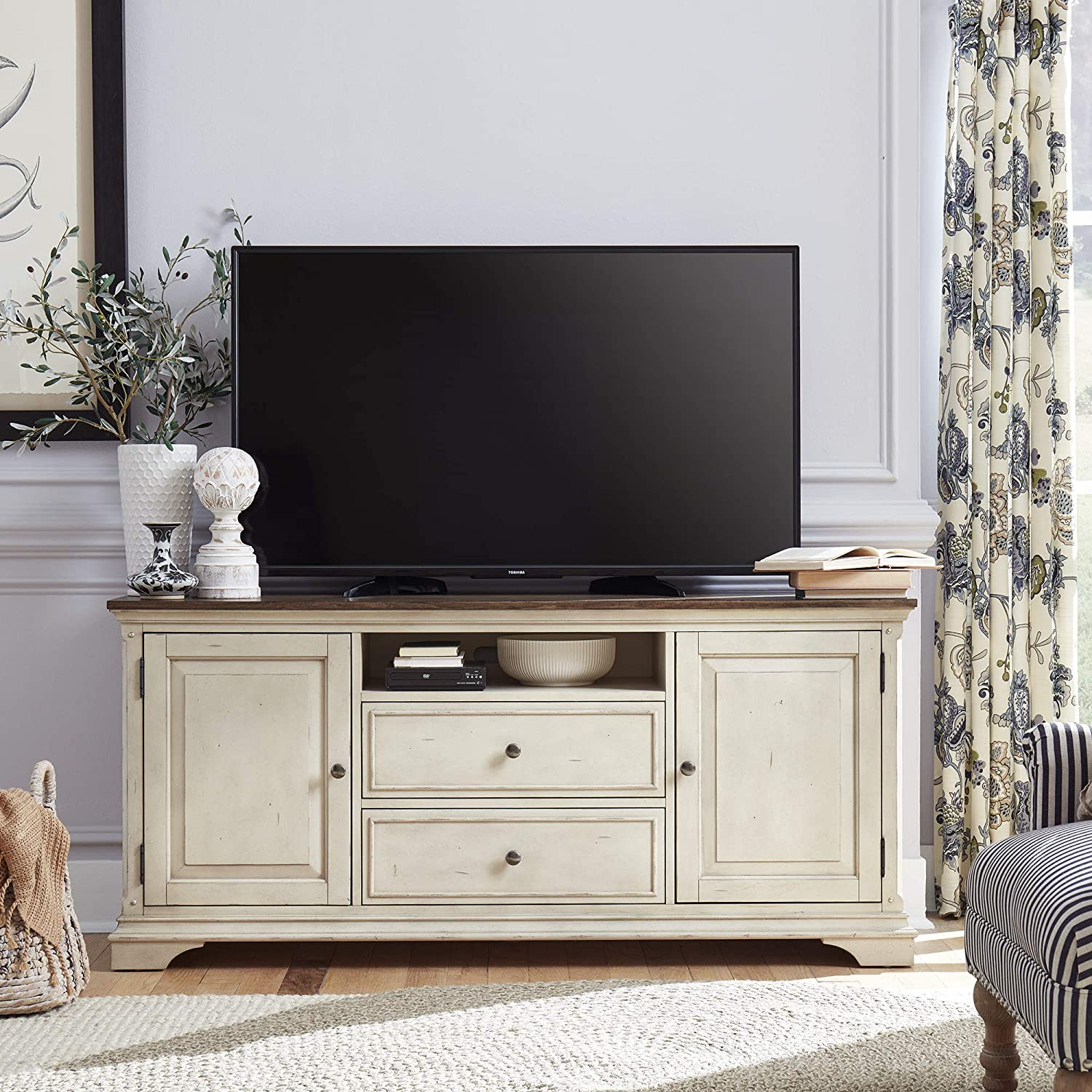 Liberty Furniture Industries Morgan Creek TV Console, Antique White