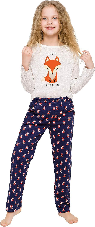 Einhorn Hase Zitronen Hund Rentier 86-140 cm Taro- Pyjamas f/ür Kleine M/ädchen 1-9 Jahren- Baumwolle Schlafanz/üg f/ür Kinder T-Shirt+ Shorts| Nachthemd| Langarm//Kurzarm- Viele Muster: Eulen