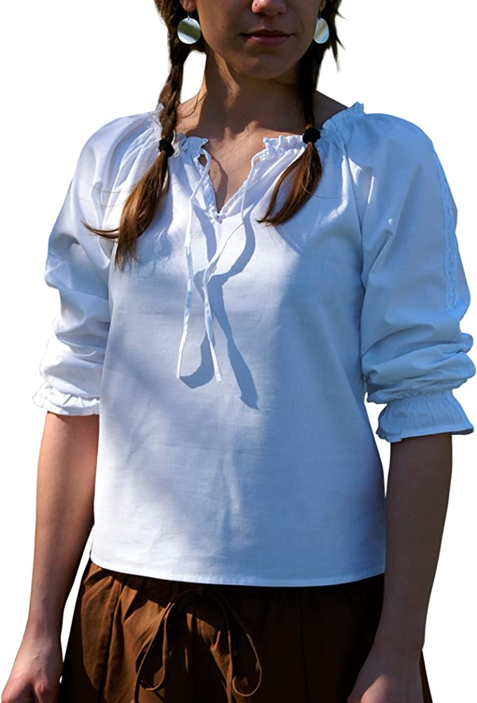 Battle Merchant Práctica Blusa con Punta, Negro de algodón Suave – Medieval – Medieval – Vikingo, Todo el año, Mujer, Color Blanco, tamaño XXL: Amazon.es: Deportes y aire libre