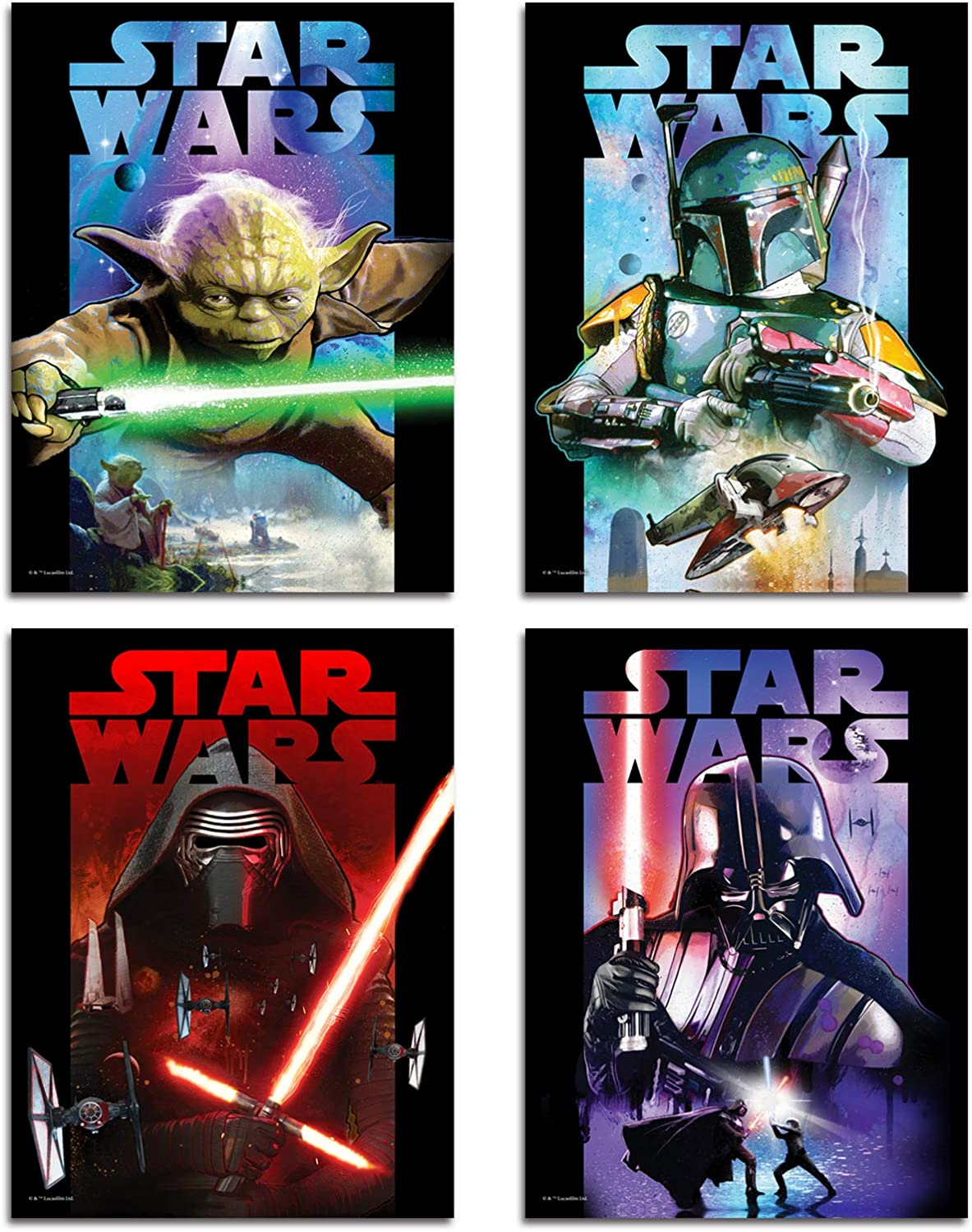 DAJIDALI Wall Art Prints, Star Wars Poster Watercolor Pictures Set of 4, Gift for Movies Fans, Mandalorian Yoda Home Decor for Living Room, Bedroom, Dorms, Office - 8x12 in, No Frame