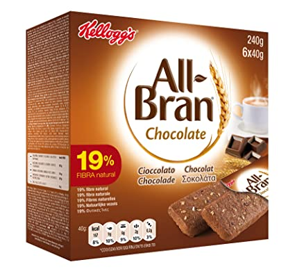 Kelloggs All-Bran Chocolate Barritas - Paquetes de 6 x 40 g ...