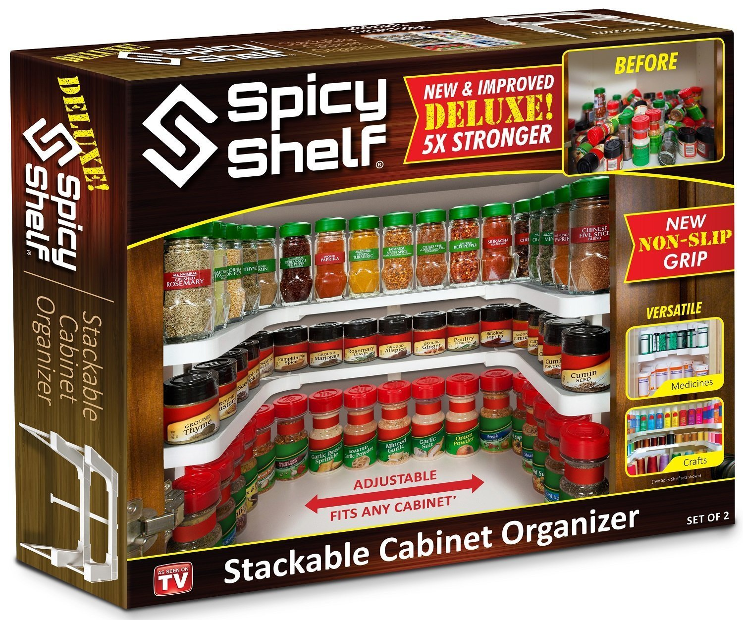Spicy Shelf Deluxe - Expandable Spice Rack and Stackable Cabinet & Pantry Organizer (1 Set of 2 shelves) - As seen on TV by Spicy Shelf