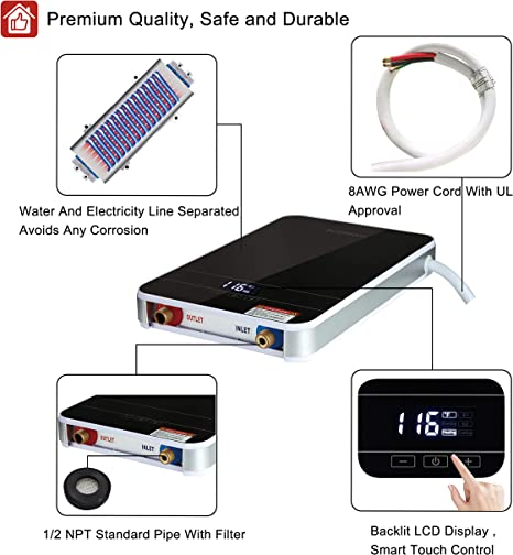 Amazon.com: Calentador de agua sin depósito eléctrico ...