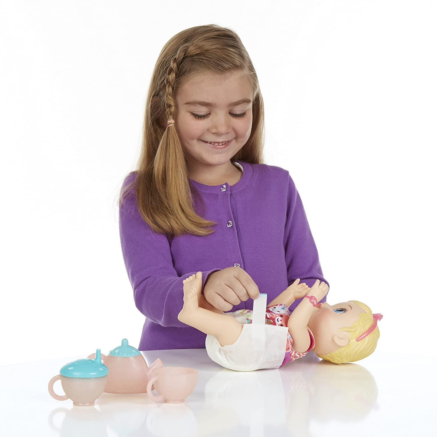 Amazon Baby Alive Lil Sips Baby Has a Tea Party Doll Blonde
