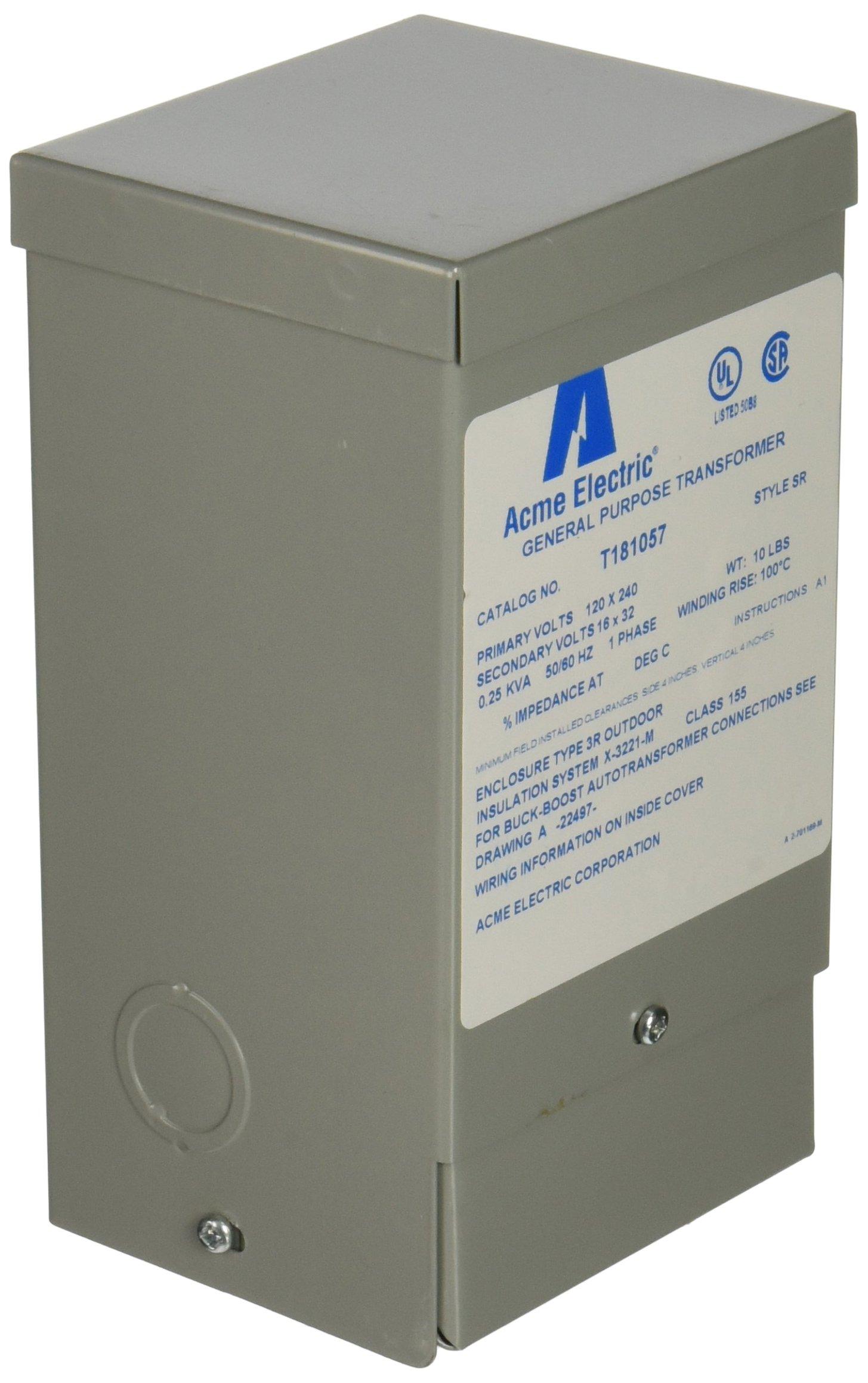 Hubbell Acme Electric T181057 Buck-Boost Transformer, 1 Phase, 60 Hz, 0.25 kVA, 120V x 240V Primary Volts, 16V/32V Secondary Volts