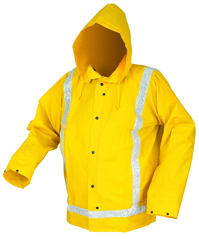 Yellow MCR Safety 340JL Luminator PVC//Nylon Corduroy Collar Jacket with Detached Hood and Reflective Tape Large