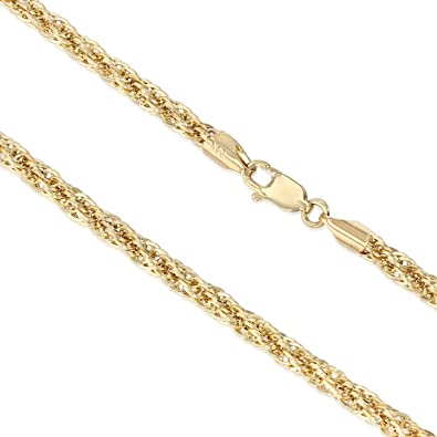 14K Yellow Gold 2.6mm Hollow Figaro 3+1 Chain Necklace with Lobster Clasp Ioka
