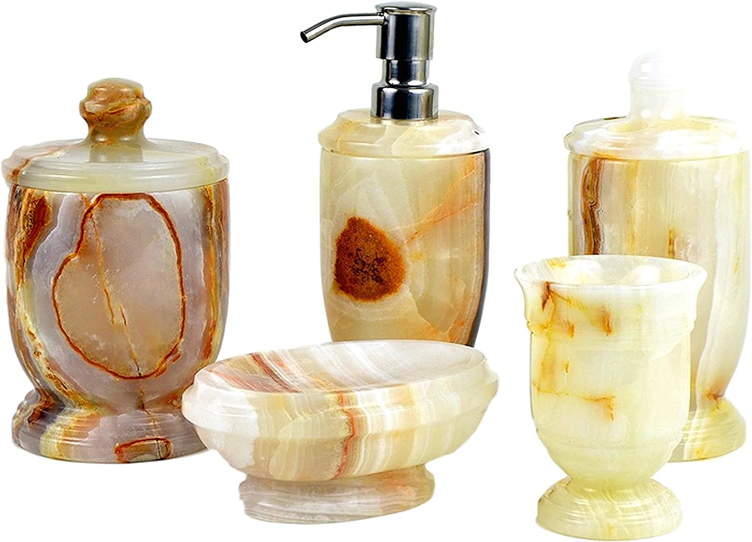 Nature Home Decor 300WO5 White Onyx 5-Piece Bathroom Accessory Set of Atlantic Collection