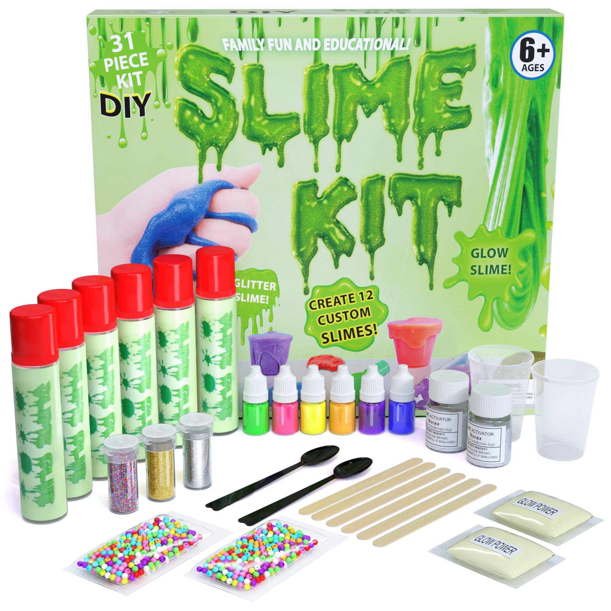 DIY Slime Kit - Ultimate 31 Piece Slime kit for Girls & Boys - Make 12 Custom batches of Clear, Color, Glitter, Bead, Glow Slime & More - #1 Fun & Educational DIY Slime - Slime Making Kit!