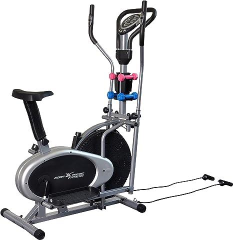 Cuerpo Xtreme 4-en-1 bicicleta estática elíptica de Fitness, gimnasio en casa equipo, diseño compacto, mano pesos, bandas de resistencia + Bonus refrigeración toalla: Amazon.es: Deportes y aire libre
