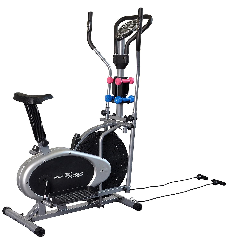 Cuerpo Xtreme 4-en-1 bicicleta estática elíptica de Fitness, gimnasio en casa equipo, diseño compacto, mano pesos, bandas de resistencia + Bonus ...