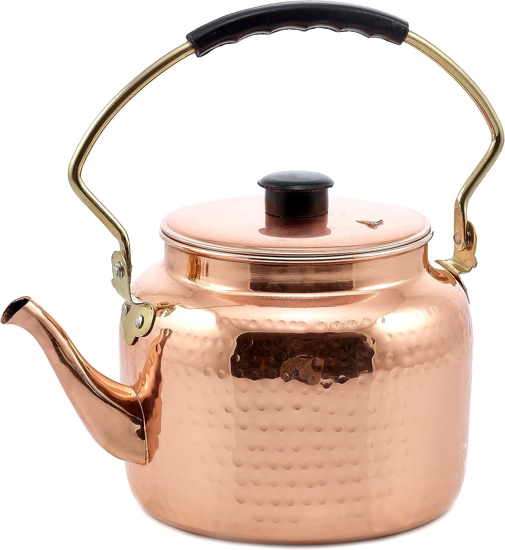 Old Dutch International Copper 2 Qt. Hammered Tea Kettle, 2 quart