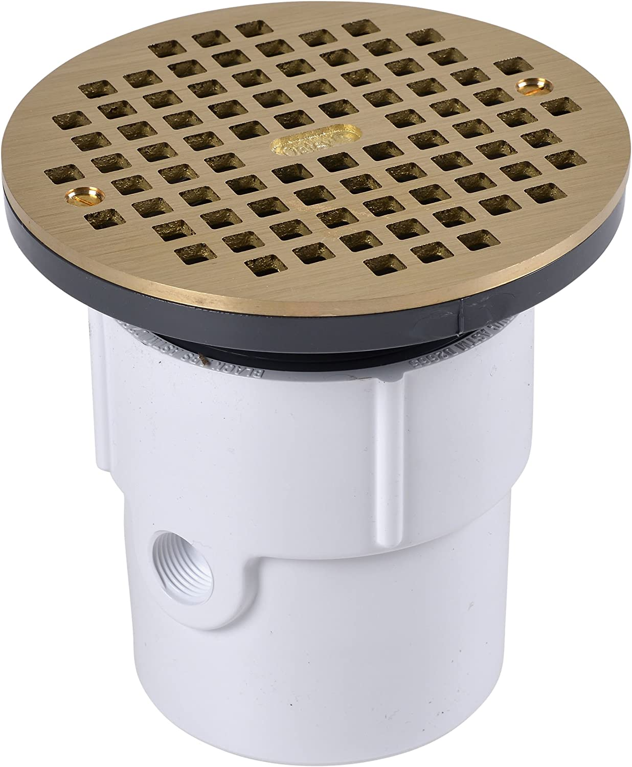 2-Inch Oatey 72372 PVC Adjustable Commercial Drain with 10-Inch Cast NI Grate and Round Top