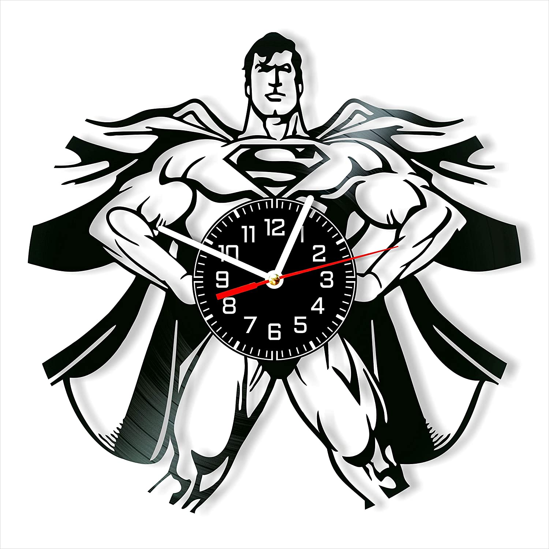 Superman Vinyl Clock, Superman Wall Clock 12 inch (30 cm), Original Gifts for Fans Superman, The Best Home Decorations, Unique Art Decor, Original Idea for Home Decor