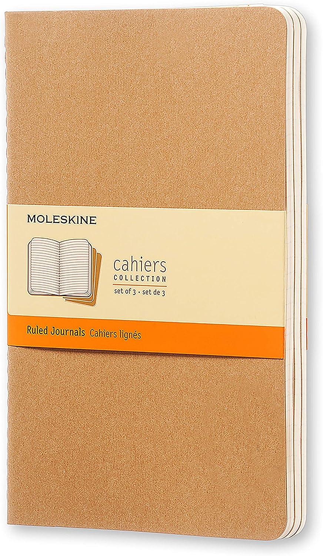 5 x 8.25 Moleskine Cashiers Journals 80 Plain Pages Large Brown Set of 3