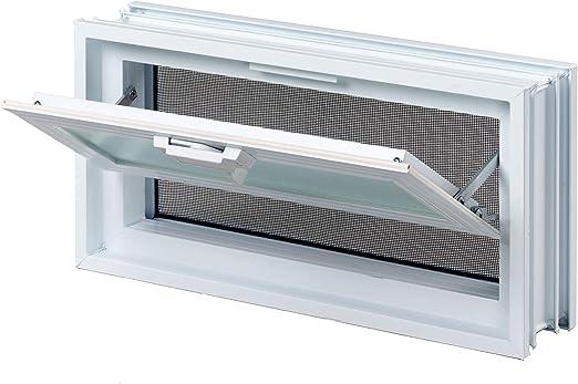 Fenêtre basculante pour l\'installation dans un mur de briques de verre, au  lieu de deux brique de verre 19x19x8cm, horizontal