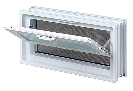 FUCHS L/üftungsfenster anstatt 2 Glassteine im Format 19x19x8 cm mit Fliegengitter