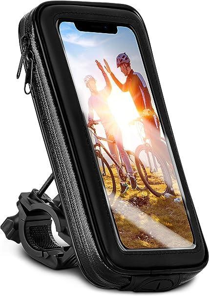 Moex Fahrrad Handyhalterung Kompatibel Mit Samsung Galaxy A50 A30s Lenkertasche Mit Sichtfenster Neig Und Drehbar Lenker Halterung Wasserdicht Schwarz Sport Freizeit