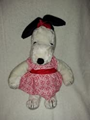 Peanuts United Feature Syndicate Plush Snoopys Sister Snoopy Belle With Red Bow 16.5 Inches