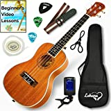 Ukulele Concert Size Bundle From Lohanu (LU-C) 2 Strap Pins Installed FREE Uke Strap Case Tuner Picks Hanger Aquila…