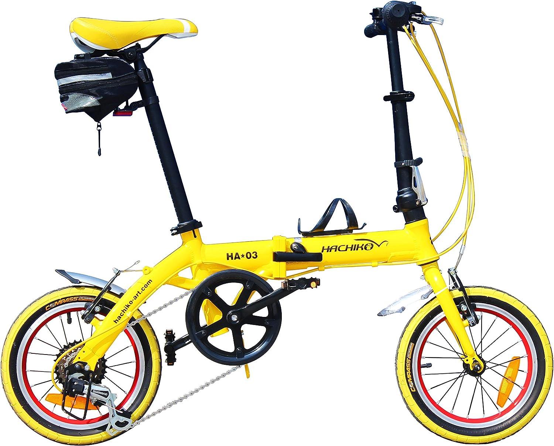 HACHIKO ジュラルミン 折りたたみ自転車 SHIMANO シマノ 6段変速 14インチ [98%完成品] HA03 黄