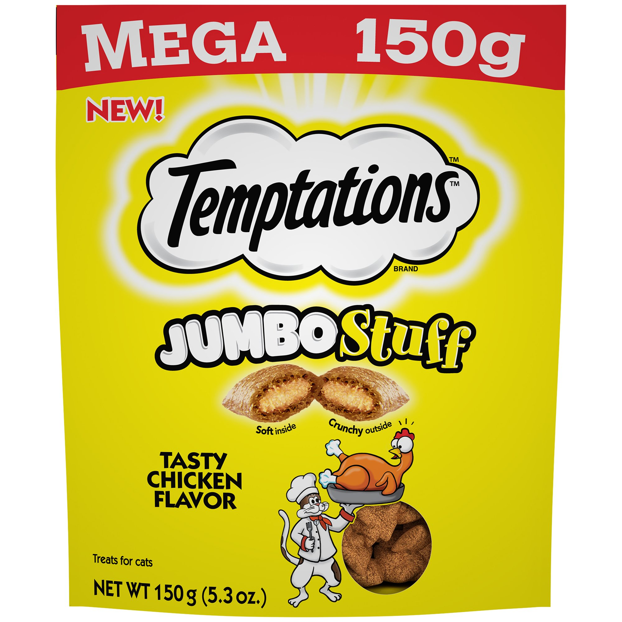Temptations Jumbo Stuff Cat Treats Tasty Chicken Flavor, (10) 5.3 Oz. Pouches