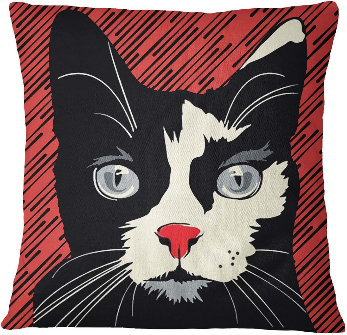 S4Sassy Black Cat Print Home Decorative Square Cushion Cover Pillow Case 12 x 12 Inches