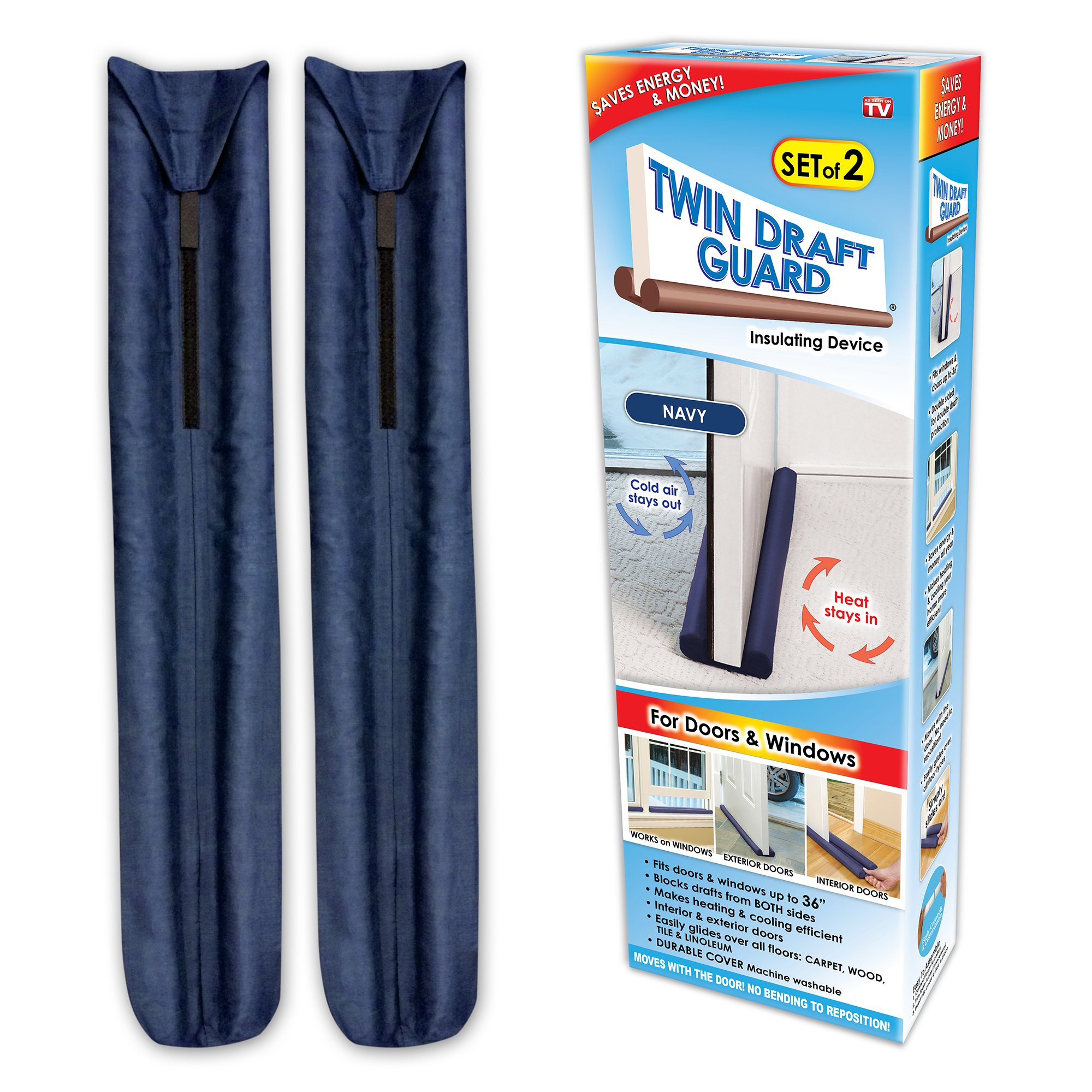 Twin Draft Guard Value Pack of 2, Blue Energy Saving Under Door Draft Stopper by Twin Draft Guard
