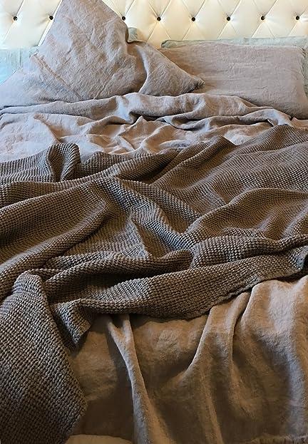 JOWOLLINA XXXL Leinen Bettwäsche Set: Bettbezug (220x240 Cm)+2 Kissenbezüge  (