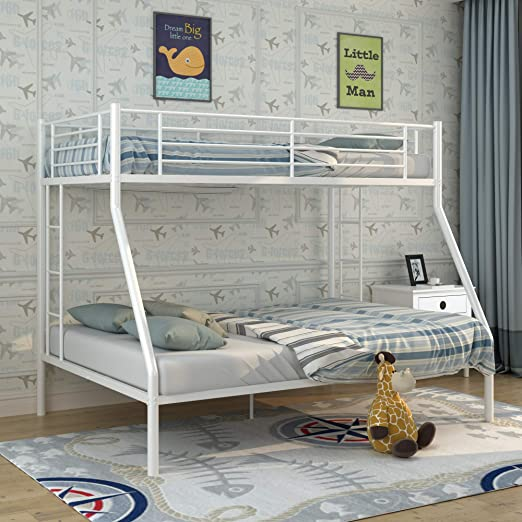 Amazon Com Metal Bunk Beds Twin Over Full Weyoung Easy Assembly Twin Over Full Bed With Guard Rail And 2 Ladders For Kids White Kitchen Dining