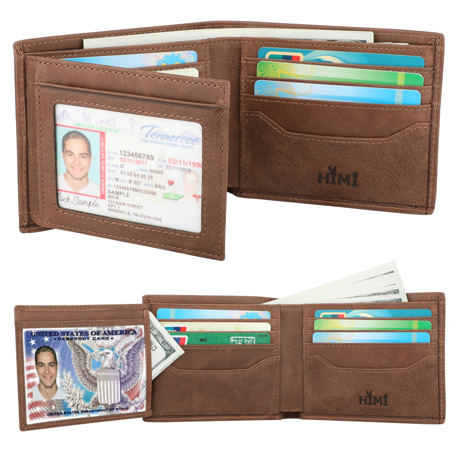 Wallets for Men - RFID Blocking Trifold Genuine Leather Wallet With 2 ID Window