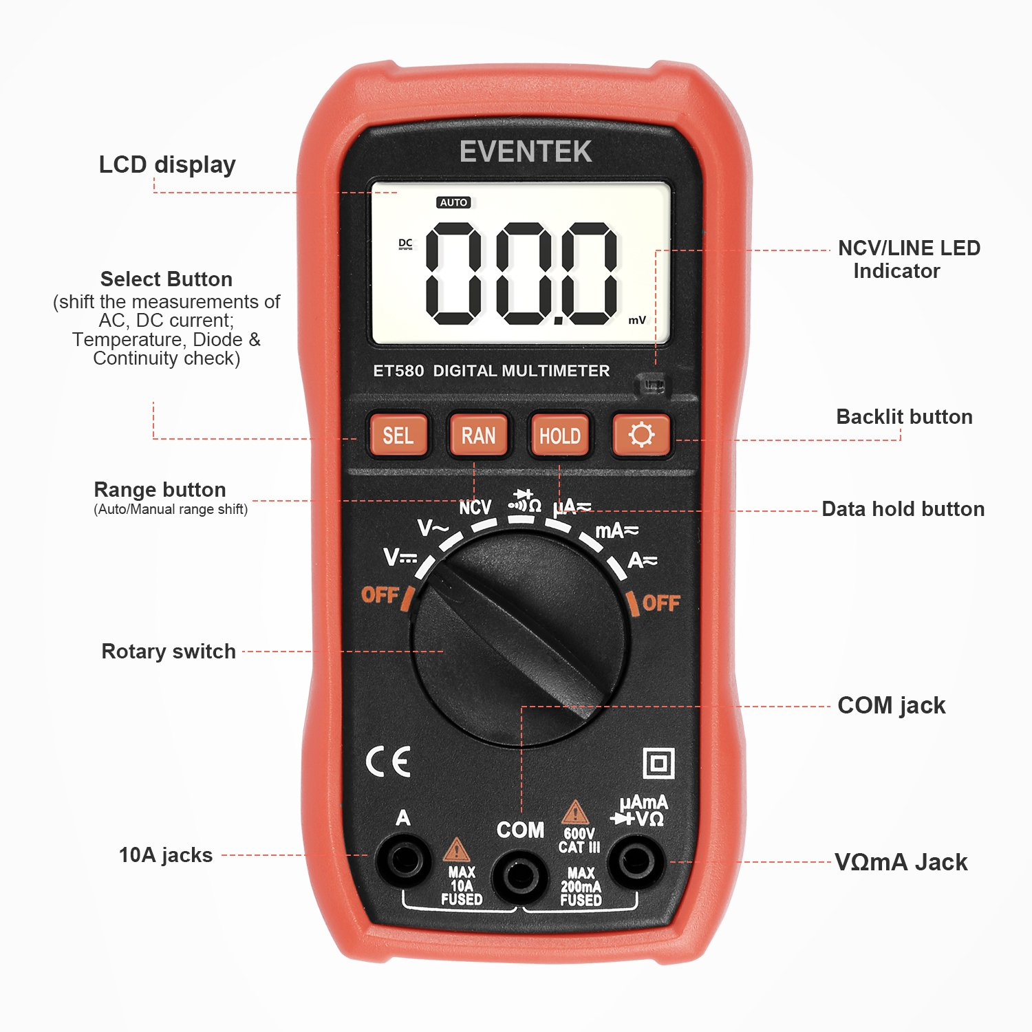 Digital Multimeter Eventek Et580 Multi Tester Auto Ranging With Ideal Receptacle Circuit Voltagecontinuity Pricefallscom Backlight For Measuring Ac Dc Current Voltage Resistance Continuity