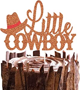 Little Cowboy Cake Topper Western Cowboy Cake Decor for Little Boy birthday, Baby Shower Gender Reveal Party Decorations Supplies