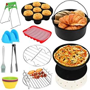 7 inch Air Fryer Accessories 13 Pcs,ACETOP Hot Air Fryer Oven Accessories Set with Hot Dog Mold, Compatible for Deep Airfryer 3.2QT - 5.8QT Gowise USA, Phillips, Power XL, Cozyna, Instant Pot
