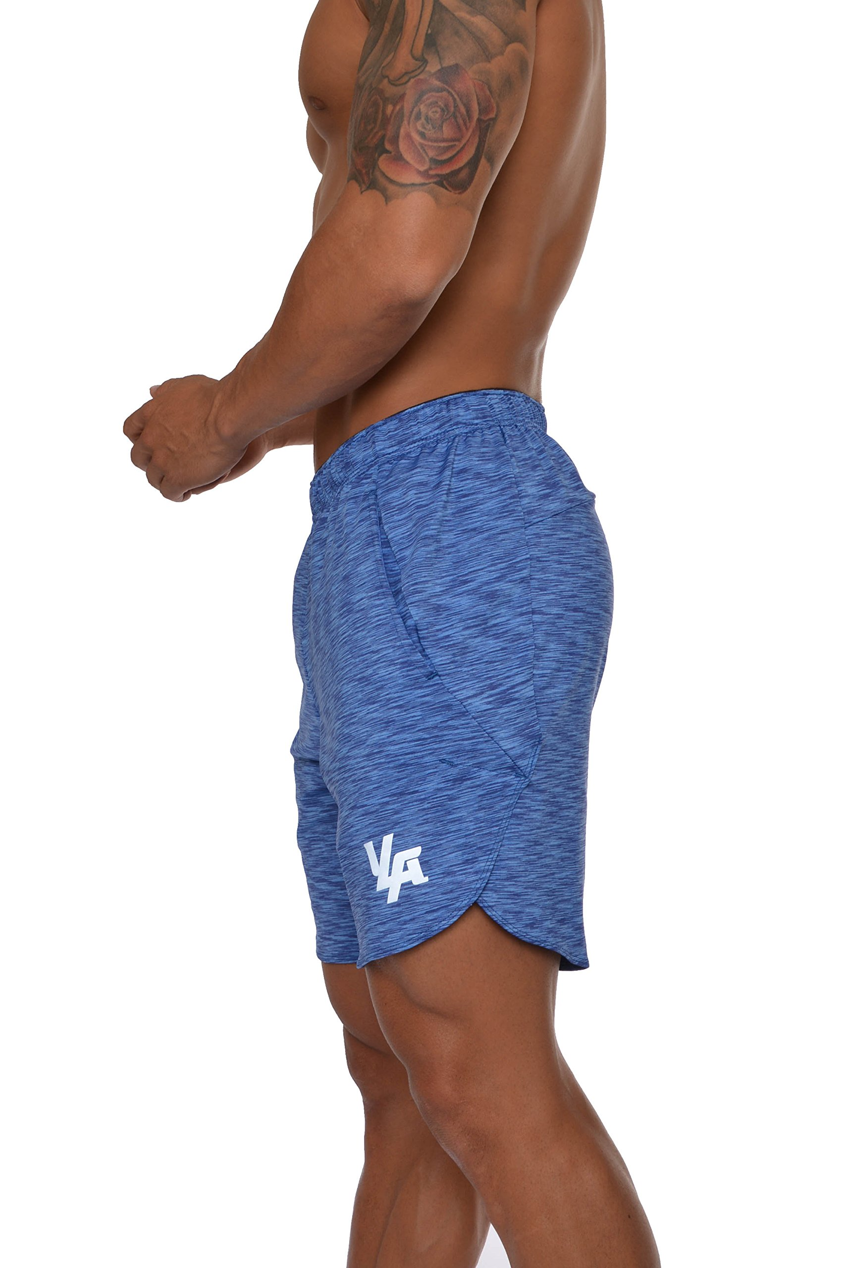 1a4d5b0dba6 YoungLA Men s Running Shorts Athletic Gym Jogging Workout Powerlifting With  Front Pockets Heather Blue Medium