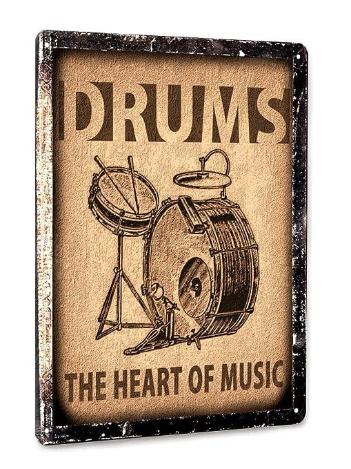 amazon drums set metal sign music studio art retro vintage