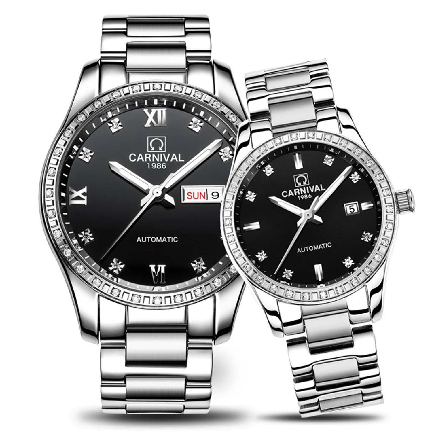 Couple Automatic Mechanical Watch Men and Women Sapphire Glass Watches Two Tone for Her or His Gift Set 2 (Silver Black)