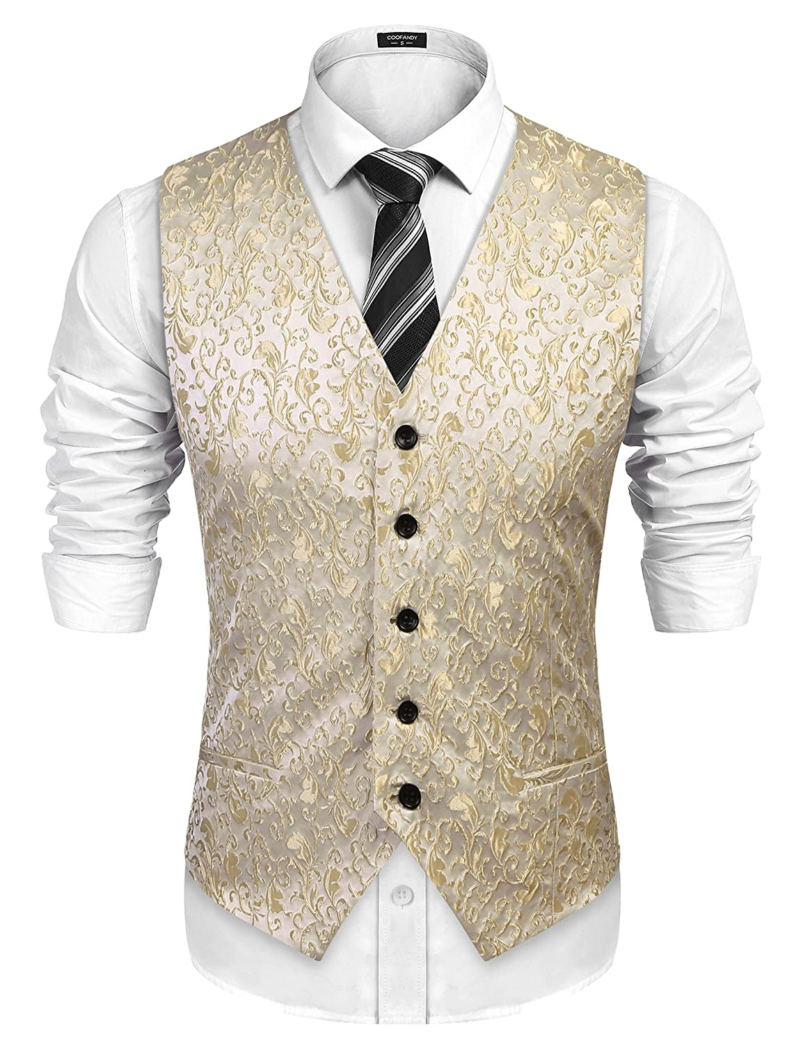 Fange Mens V-Neck Jacquard Vest Knitwear Sweater Waistcoat with Front Button