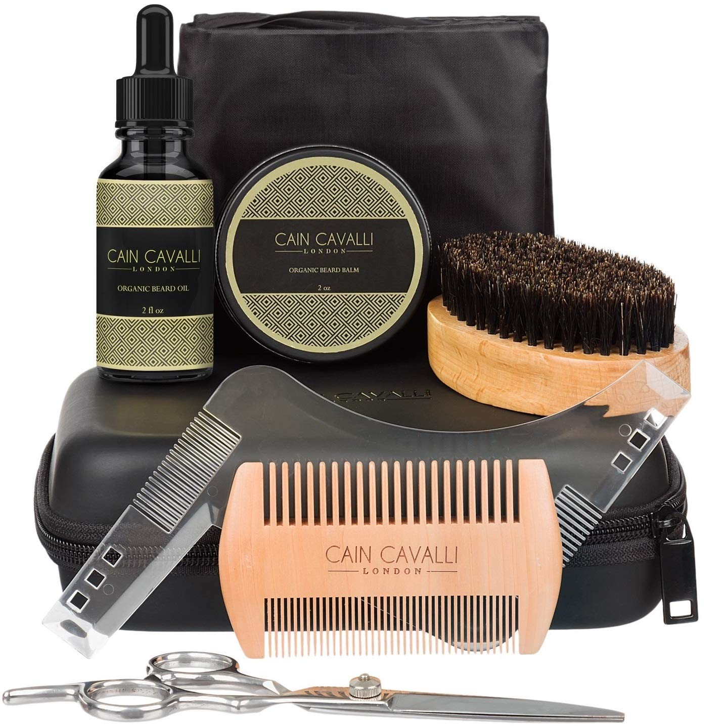 Cain Cavalli Premium Mens Beard Care Grooming Kit - Travel Case Shaper Template Apron Organic Oil Conditioner and Wax Balm Trimming Scissors Comb Brush - Ultimate Trimmer Accessories Set for Men