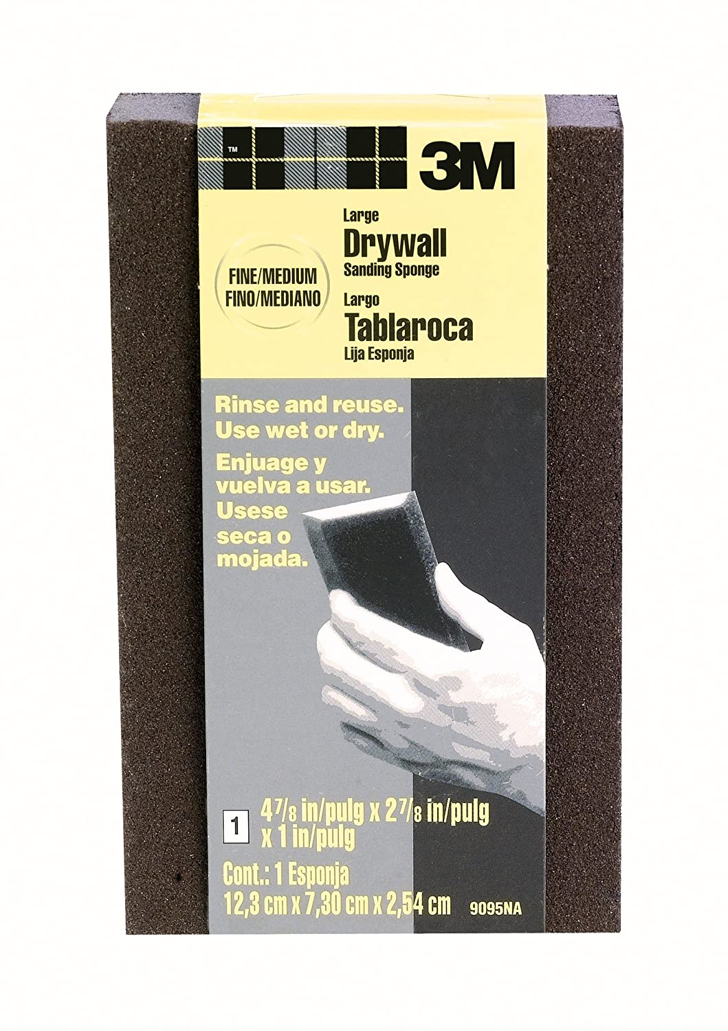 3M Large Area Drywall Sanding Sponge, Fine/Medium, 4.875-Inch by 2.875-Inch by 1-Inch, Black - 9095NA