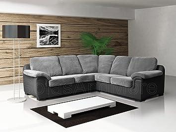 Sofas And More Corner Sofa - Amy - Grey - Fabric: Amazon.co.uk ...