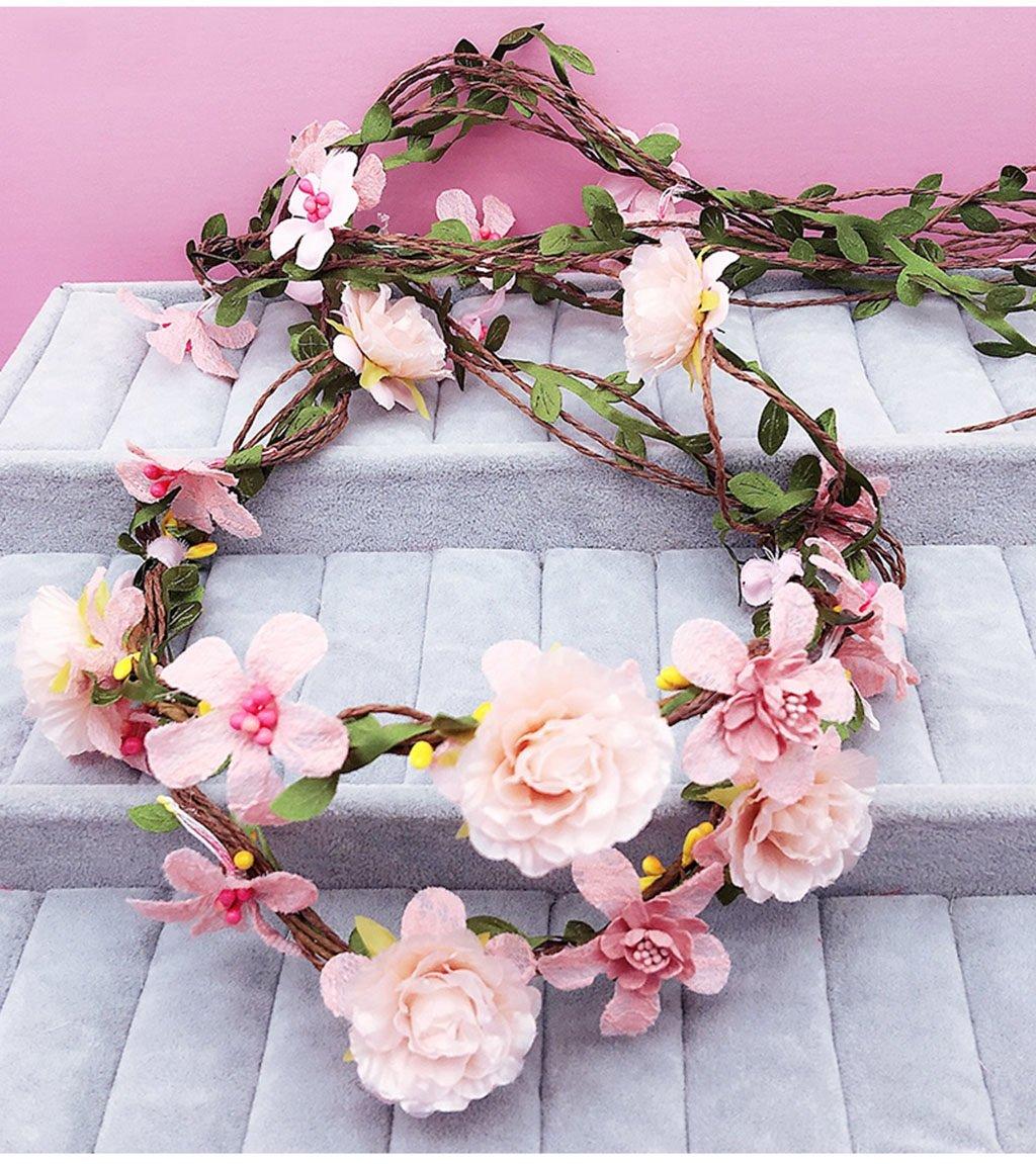 Wreath Flower, Headband Flower Garland Handmade Wedding Bride Party Ribbon Headband Wristband Hairband Bule (Color : D)