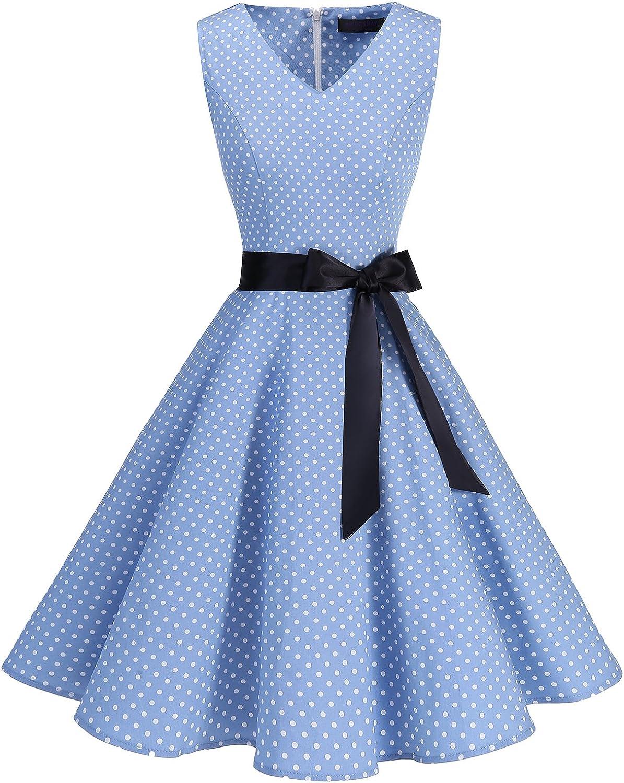 TALLA 3XL. Bridesmay Vestido de Cóctel Fiesta Mujer Verano Años 50 Vintage Rockabilly Sin Mangas Pin Up Blue Small White Dot 3XL
