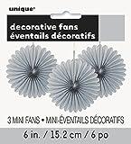 """6"""" Mini Silver Tissue Paper Fan Decorations, 3ct"""