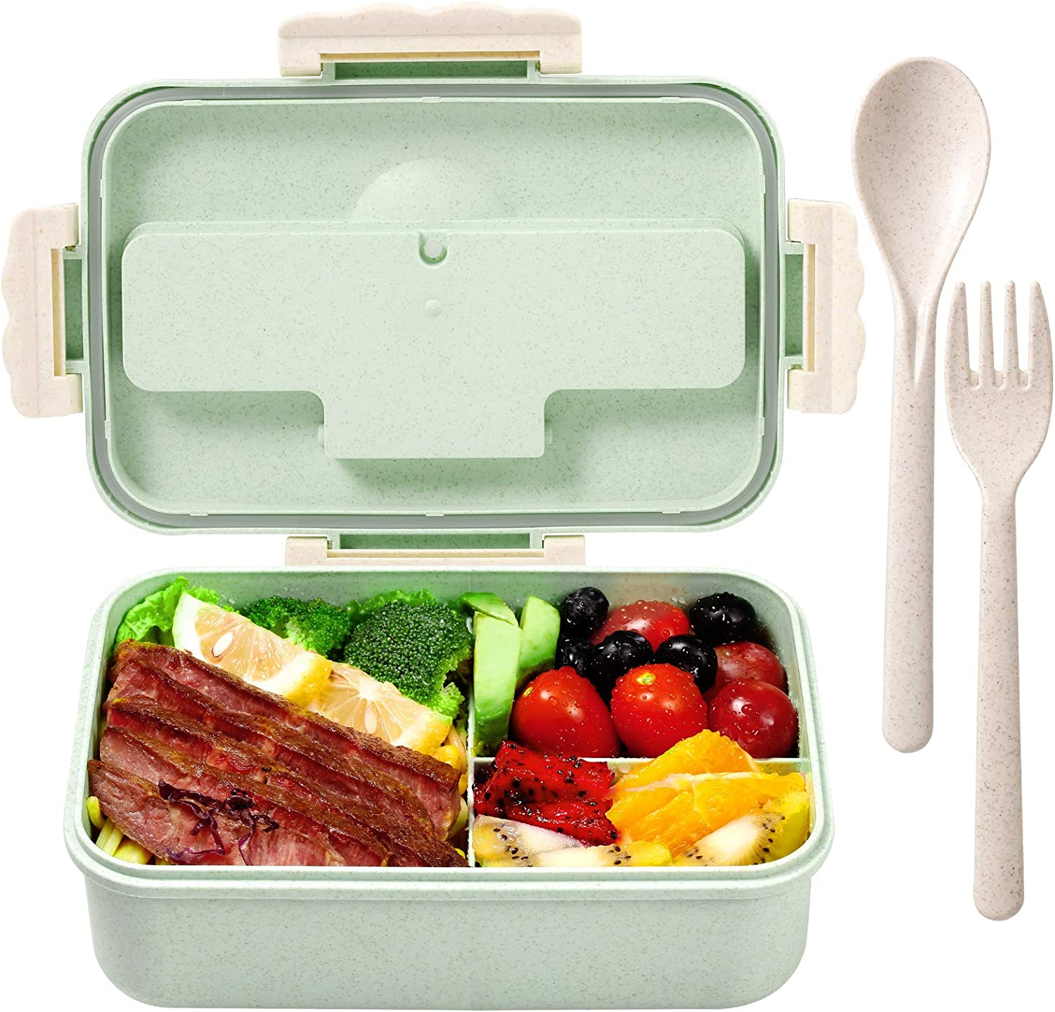 Bento Box for Adults Lunch Containers for Kids 3 Compartment Lunch Box Food Containers Leak Proof Microwave Safe(Flatware Included,Nordic Green)