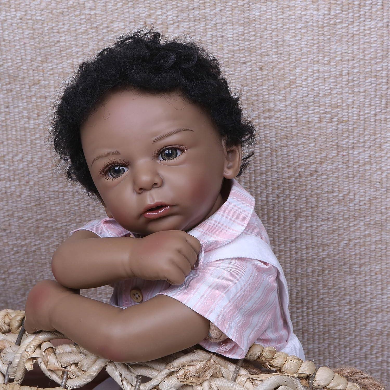 正規品販売! Pinky 22インチ 55cm 本物そっくり 女の子 アフリカ 看護師人形 シリコンビニール リボーンドール 女の子 幼児 リアルな見た目の新生児 赤ちゃん人形 リアルな手触り ブラック インディアン アフリカ 幼児 誕生日 クリスマスギフト B07GCLH5N7, アトムオンラインショップ:0bdba9cc --- pmod.ru