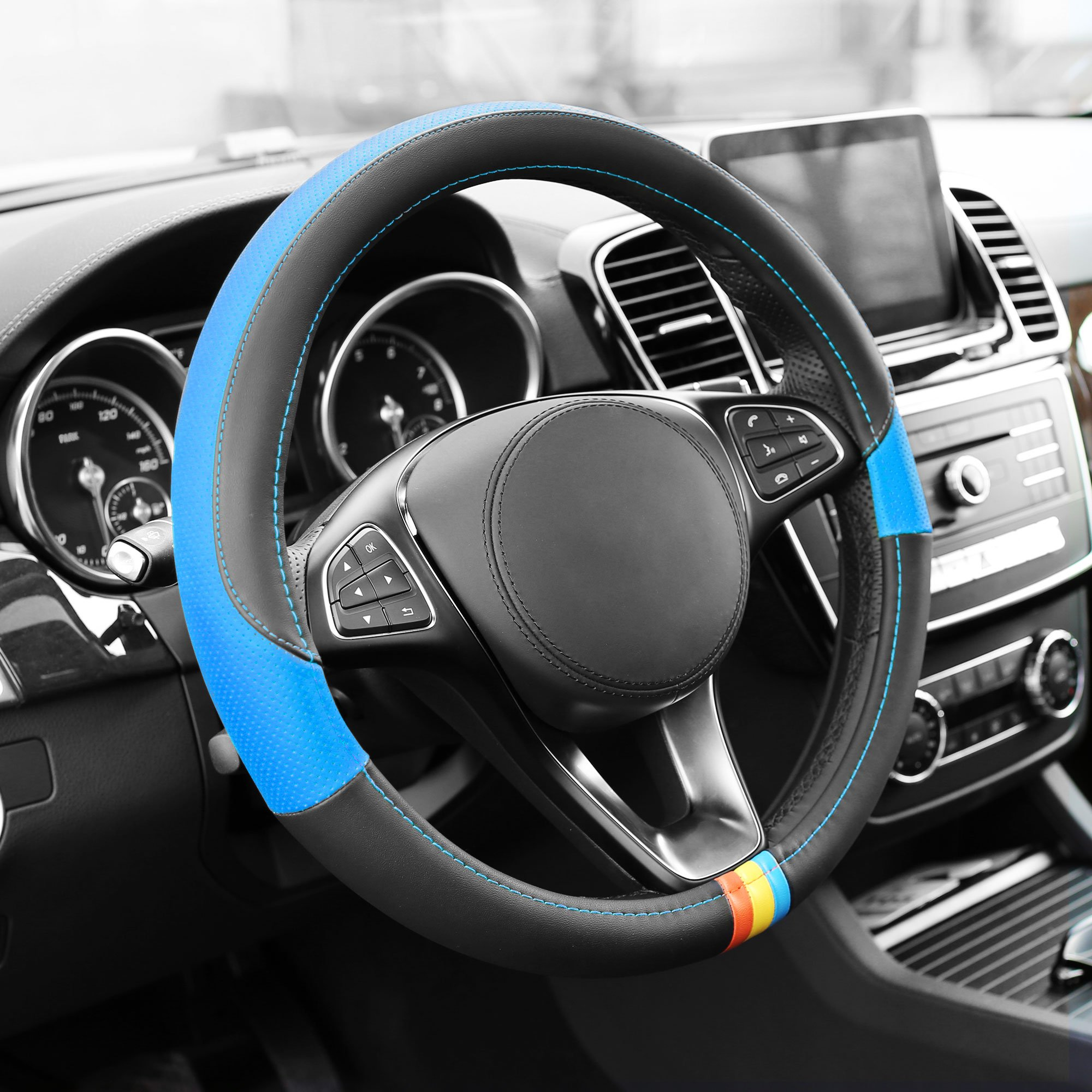 FH Group FH2008BLUE Blue Full Spectrum Leather Steering Wheel Cover